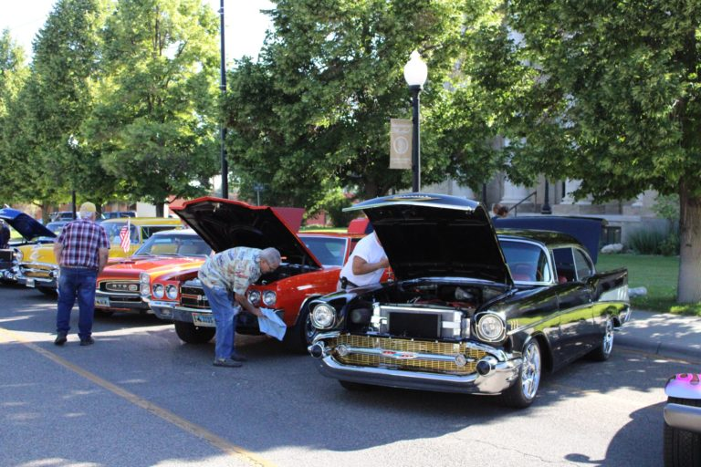 Cars set up at the car show